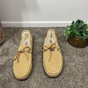 Minnetonka Men's Pile Lined Hardsole Moccasin Suede Leather Slippers Tan Sz 13 W